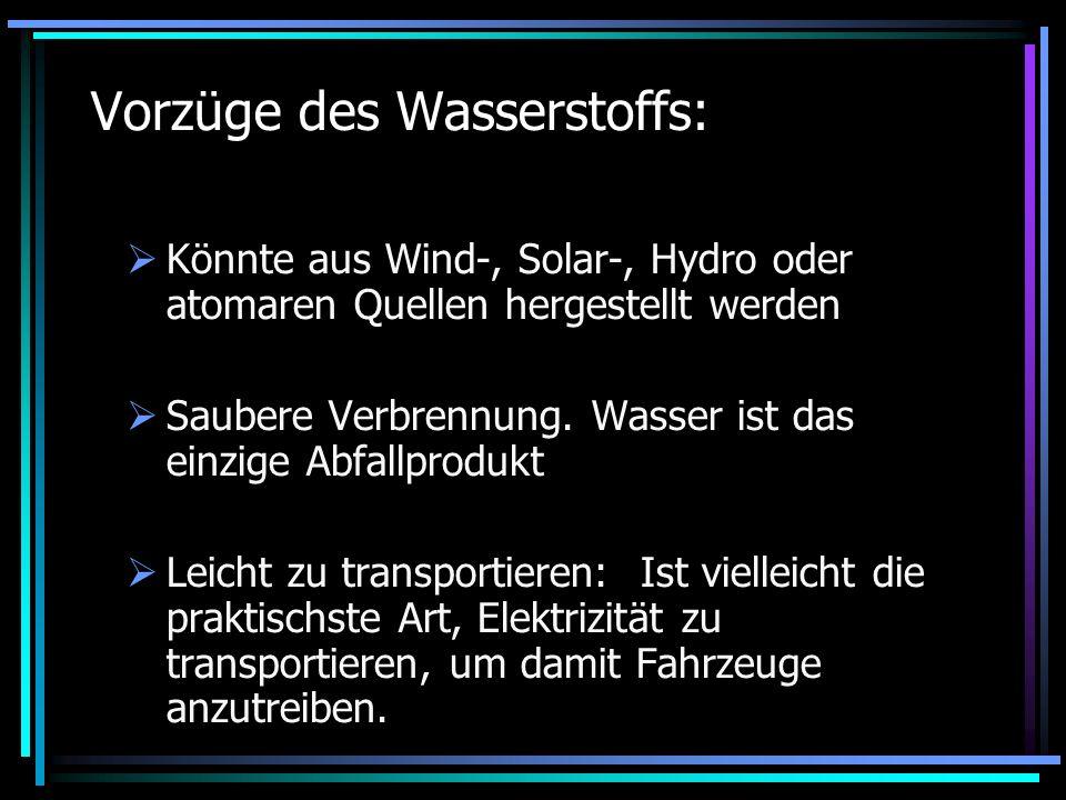 Vorzüge des Wasserstoffs: Könnte aus Wind-, Solar-, Hydro oder atomaren Quellen hergestellt werden Saubere Verbrennung. Wasser ist das einzige Abfallp