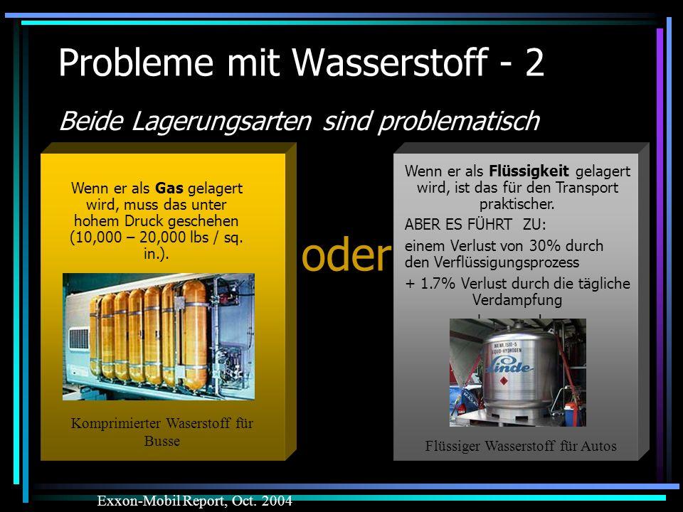 Probleme mit Wasserstoff - 2 Beide Lagerungsarten sind problematisch Exxon-Mobil Report, Oct. 2004 Wenn er als Flüssigkeit gelagert wird, ist das für