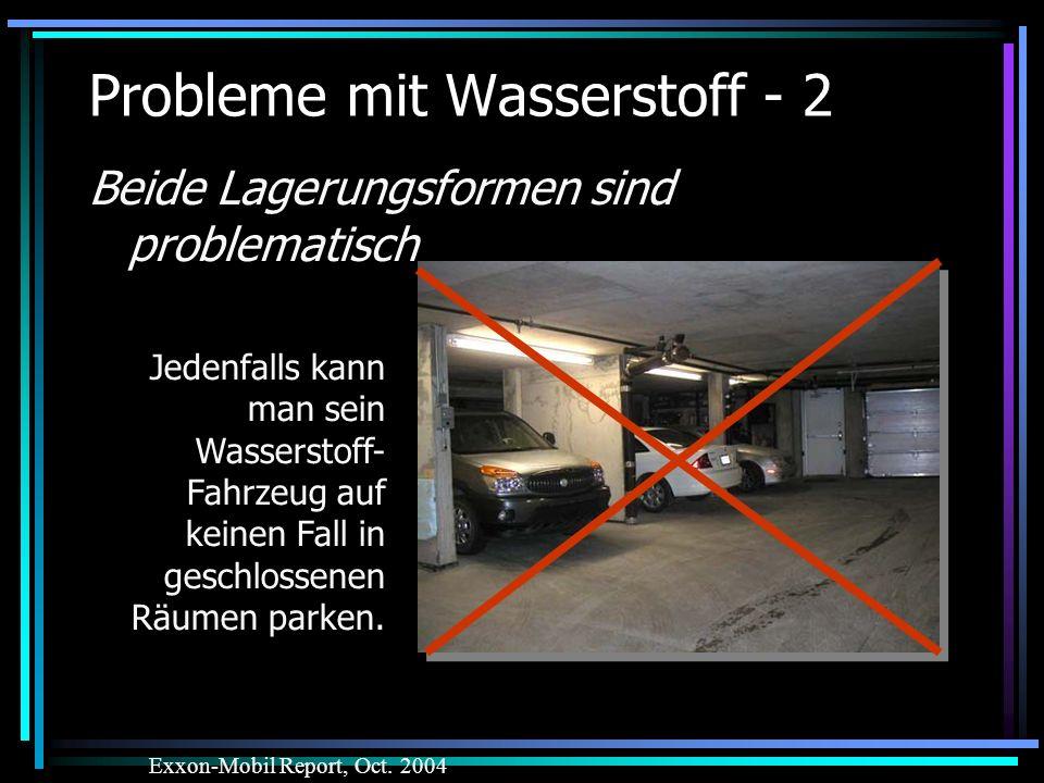 Probleme mit Wasserstoff - 2 Beide Lagerungsformen sind problematisch Exxon-Mobil Report, Oct. 2004 Jedenfalls kann man sein Wasserstoff- Fahrzeug auf