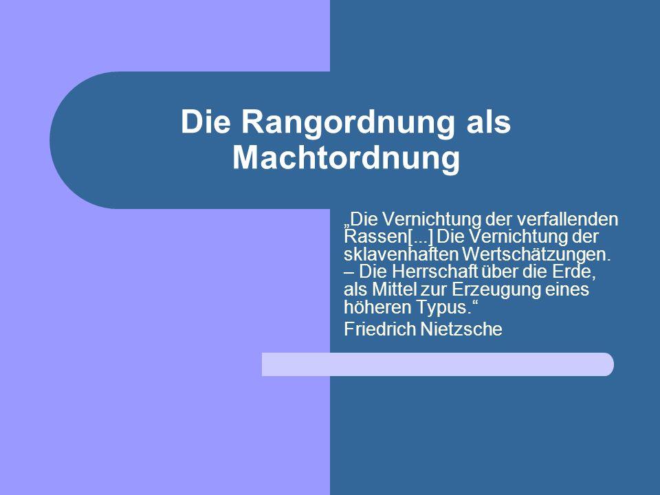Nietzsche und der Staat Der Staat oder die organisierte Unmoralität – inwendig: als Polizei, Strafrecht, Stände, Handel, Familie; auswendig: als Wille zur Macht, zum Kriege, zur Eroberung, zur Rache.
