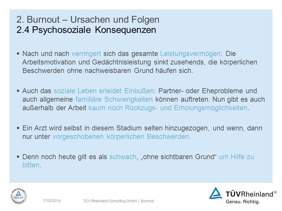 TÜV Rheinland Consulting GmbH | Burnout 17/02/2014 2.