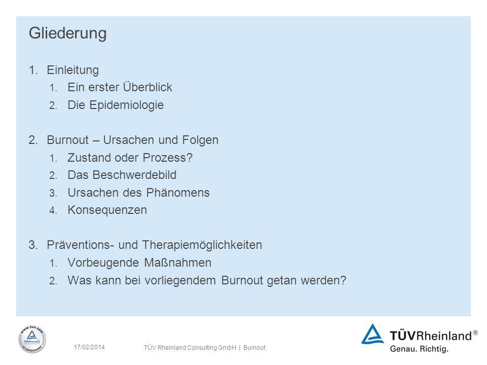 17/02/2014 TÜV Rheinland Consulting GmbH | Burnout Gliederung 1.Einleitung 1.
