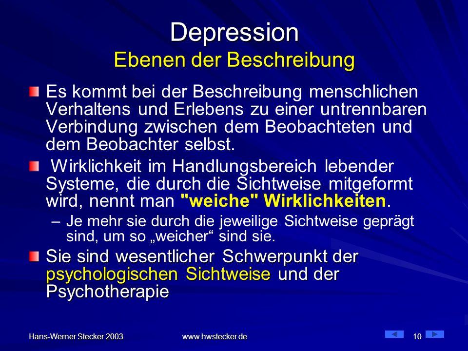 Hans-Werner Stecker 2003 www.hwstecker.de 10 Depression Ebenen der Beschreibung Es kommt bei der Beschreibung menschlichen Verhaltens und Erlebens zu