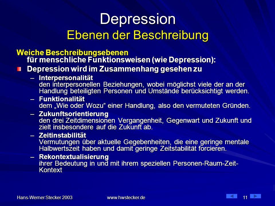 Hans-Werner Stecker 2003 www.hwstecker.de 11 Depression Ebenen der Beschreibung Weiche Beschreibungsebenen für menschliche Funktionsweisen (wie Depres
