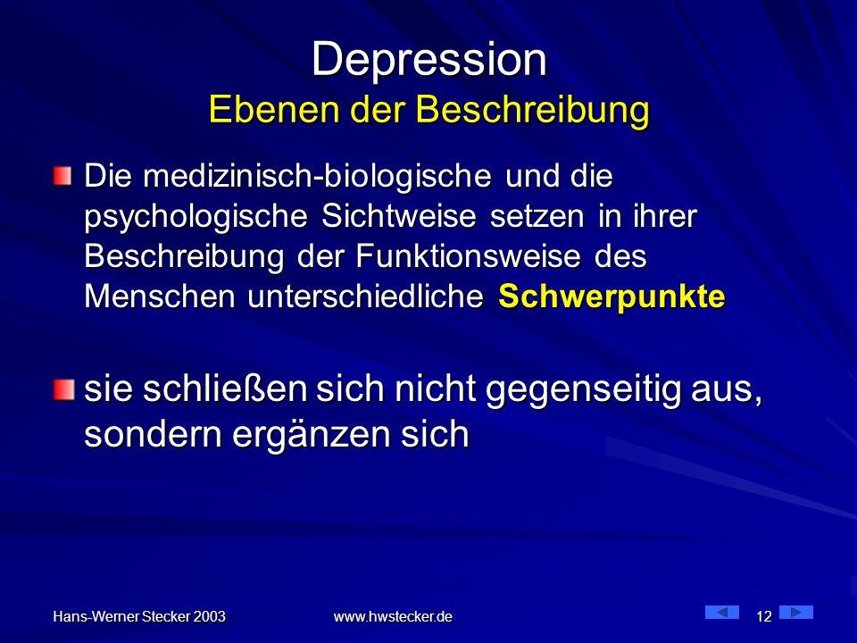 Hans-Werner Stecker 2003 www.hwstecker.de 12 Depression Ebenen der Beschreibung Die medizinisch-biologische und die psychologische Sichtweise setzen i