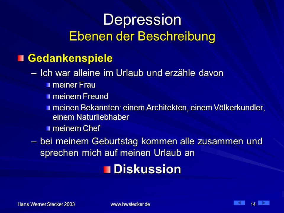 Hans-Werner Stecker 2003 www.hwstecker.de 14 Depression Ebenen der Beschreibung Gedankenspiele –Ich war alleine im Urlaub und erzähle davon meiner Fra