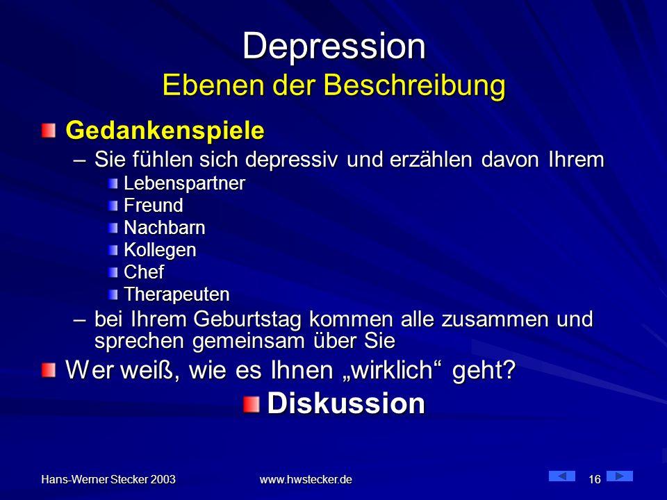 Hans-Werner Stecker 2003 www.hwstecker.de 16 Depression Ebenen der Beschreibung Gedankenspiele –Sie fühlen sich depressiv und erzählen davon Ihrem Leb