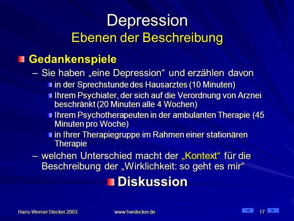 Hans-Werner Stecker 2003 www.hwstecker.de 17 Depression Ebenen der Beschreibung Gedankenspiele –Sie haben eine Depression und erzählen davon in der Sp