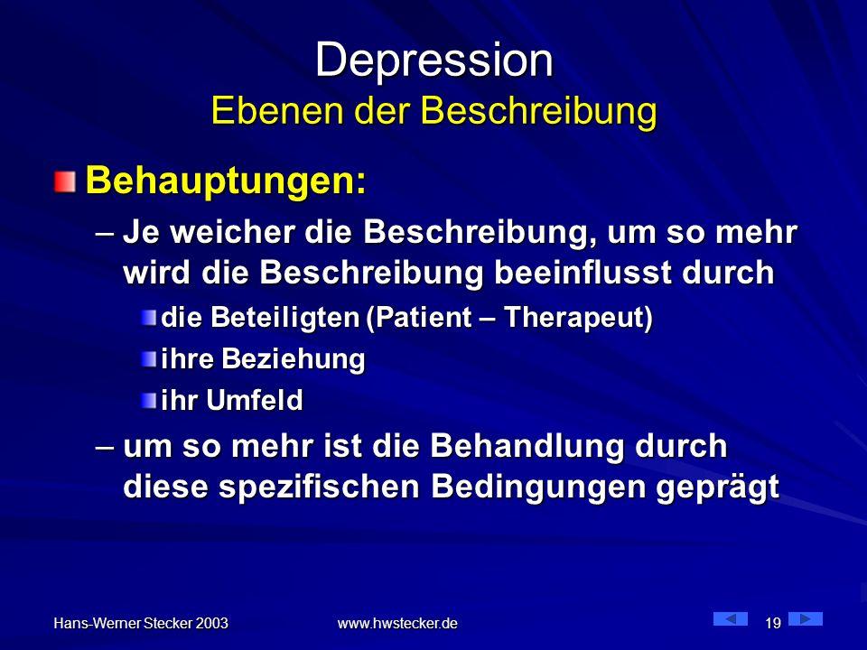 Hans-Werner Stecker 2003 www.hwstecker.de 19 Depression Ebenen der Beschreibung Behauptungen: –Je weicher die Beschreibung, um so mehr wird die Beschr
