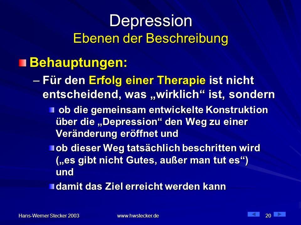 Hans-Werner Stecker 2003 www.hwstecker.de 20 Depression Ebenen der Beschreibung Behauptungen: –Für den Erfolg einer Therapie ist nicht entscheidend, w
