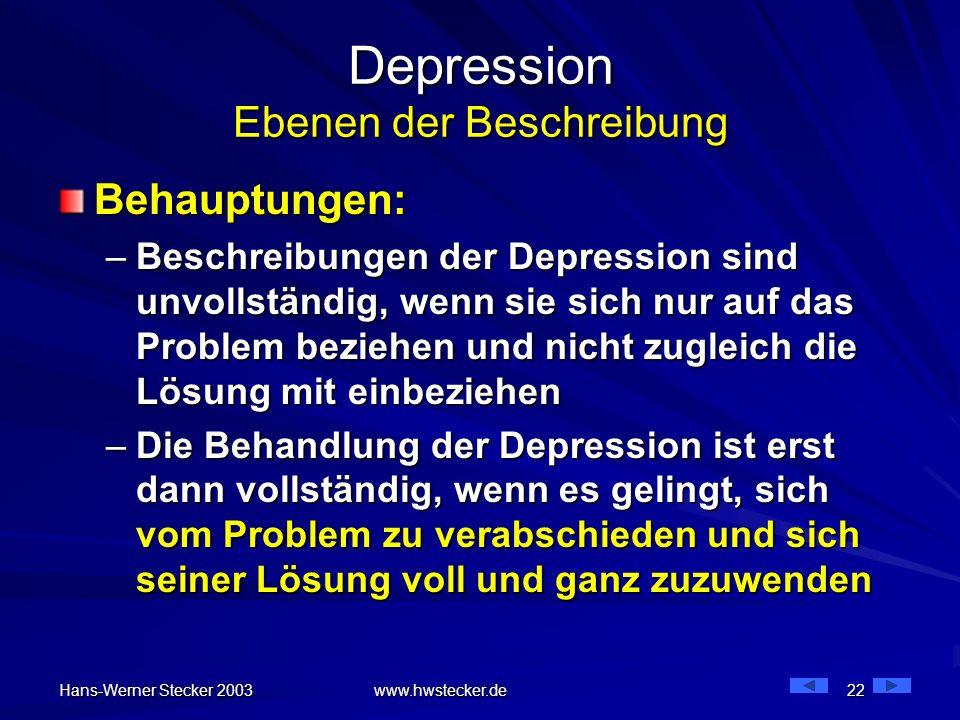 Hans-Werner Stecker 2003 www.hwstecker.de 22 Depression Ebenen der Beschreibung Behauptungen: –Beschreibungen der Depression sind unvollständig, wenn