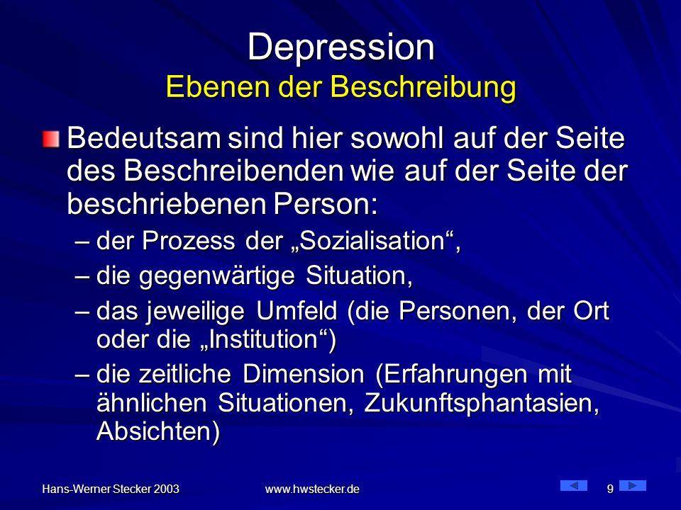 Hans-Werner Stecker 2003 www.hwstecker.de 9 Depression Ebenen der Beschreibung Bedeutsam sind hier sowohl auf der Seite des Beschreibenden wie auf der