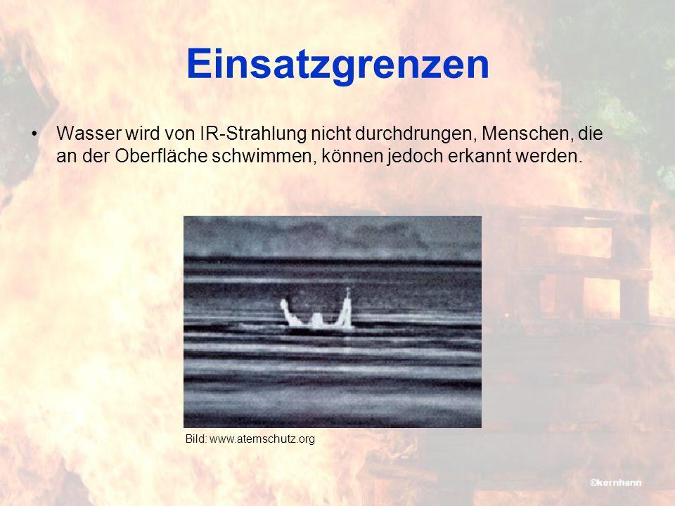 Einsatzgrenzen Wasser wird von IR-Strahlung nicht durchdrungen, Menschen, die an der Oberfläche schwimmen, können jedoch erkannt werden.