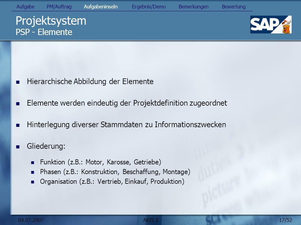 17/52 04.07.2007AKIS 2 Projektsystem PSP - Elemente Hierarchische Abbildung der Elemente Elemente werden eindeutig der Projektdefinition zugeordnet Hi