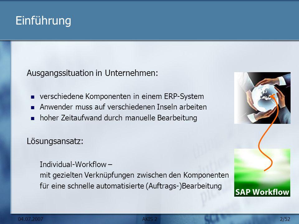 2/52 04.07.2007AKIS 2 Einführung Ausgangssituation in Unternehmen: verschiedene Komponenten in einem ERP-System Anwender muss auf verschiedenen Inseln