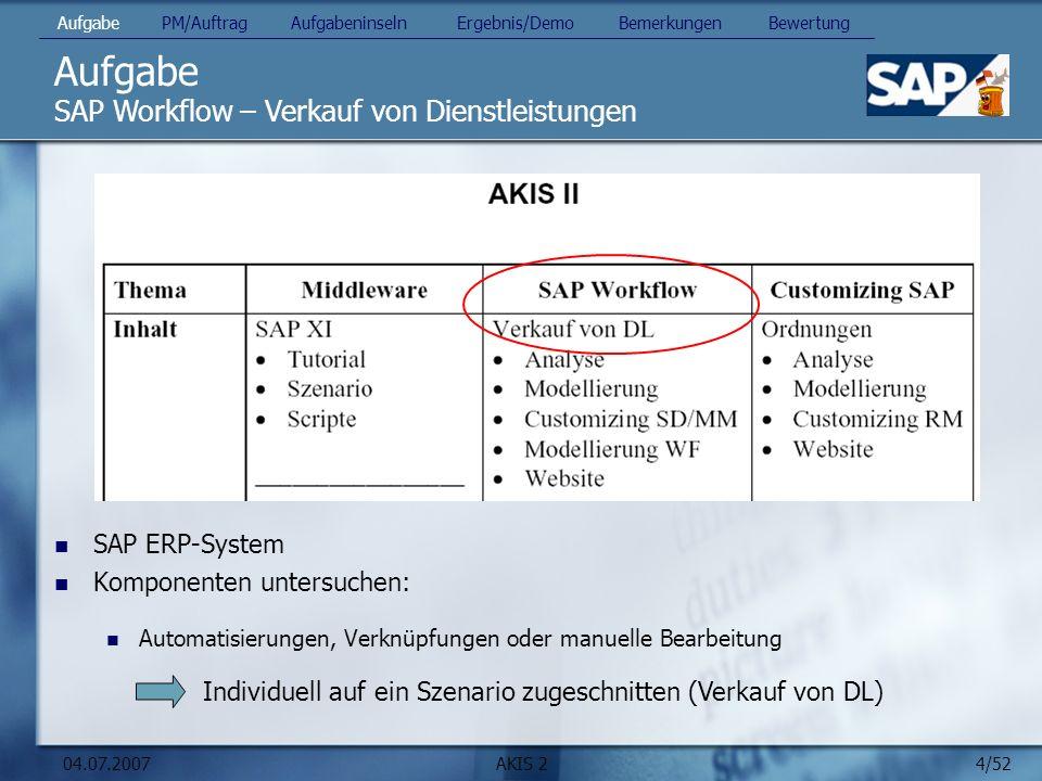 4/52 04.07.2007AKIS 2 Aufgabe SAP ERP-System Komponenten untersuchen: Automatisierungen, Verknüpfungen oder manuelle Bearbeitung SAP Workflow – Verkauf von Dienstleistungen Aufgabe PM/Auftrag Aufgabeninseln Ergebnis/Demo Bemerkungen Bewertung Individuell auf ein Szenario zugeschnitten (Verkauf von DL)