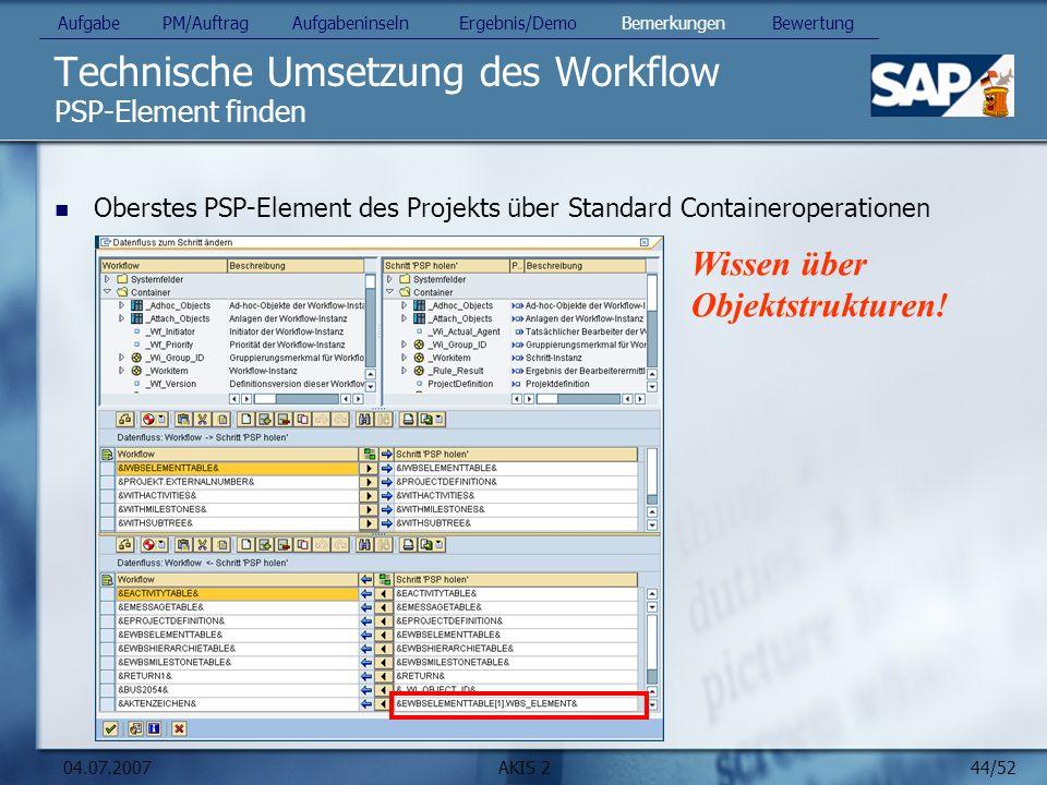 44/52 04.07.2007AKIS 2 Technische Umsetzung des Workflow PSP-Element finden Aufgabe PM/Auftrag Aufgabeninseln Ergebnis/Demo Bemerkungen Bewertung Ober