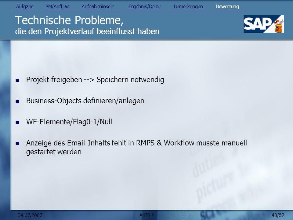 48/52 04.07.2007AKIS 2 Technische Probleme, die den Projektverlauf beeinflusst haben Projekt freigeben --> Speichern notwendig Business-Objects defini