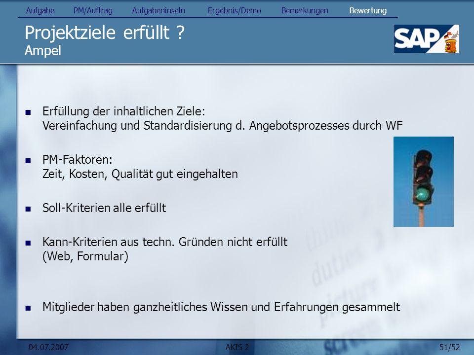 51/52 04.07.2007AKIS 2 Projektziele erfüllt ? Ampel Erfüllung der inhaltlichen Ziele: Vereinfachung und Standardisierung d. Angebotsprozesses durch WF