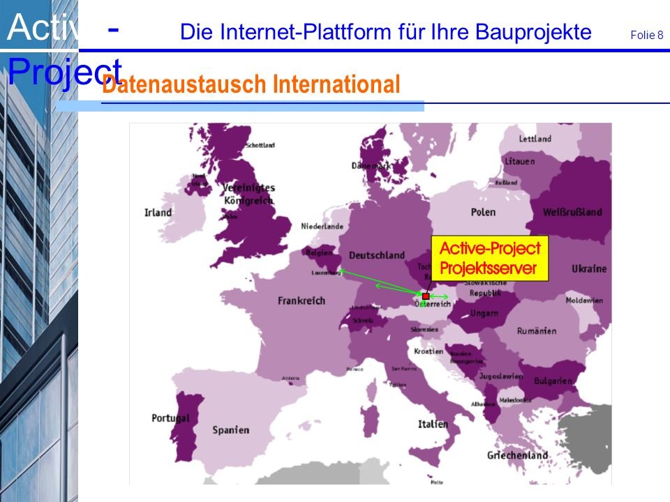 Active- Project Die Internet-Plattform für Ihre Bauprojekte Folie 8 Datenaustausch International