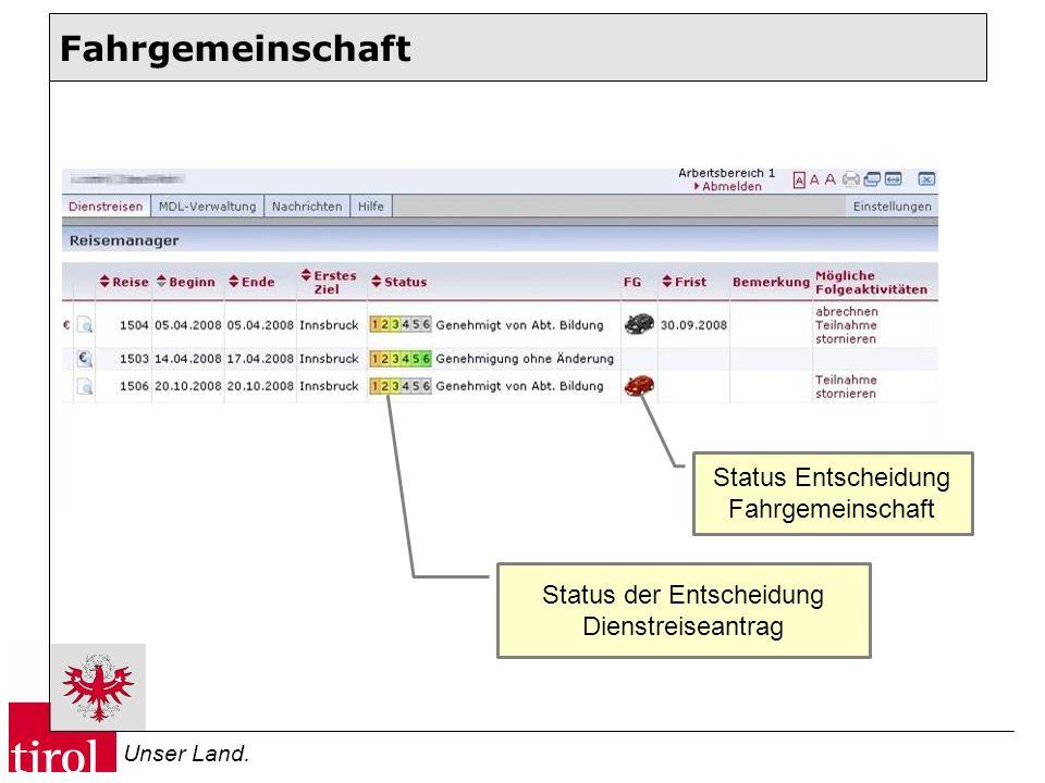 Unser Land. Status Entscheidung Fahrgemeinschaft Status der Entscheidung Dienstreiseantrag Fahrgemeinschaft