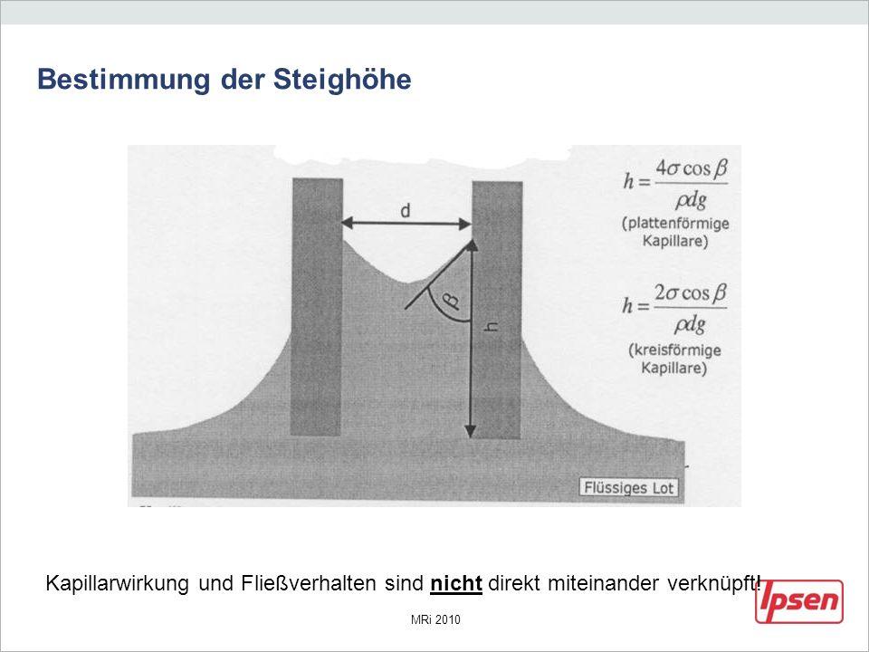 MRi 2010 Bestimmung der Steighöhe Kapillarwirkung und Fließverhalten sind nicht direkt miteinander verknüpft!