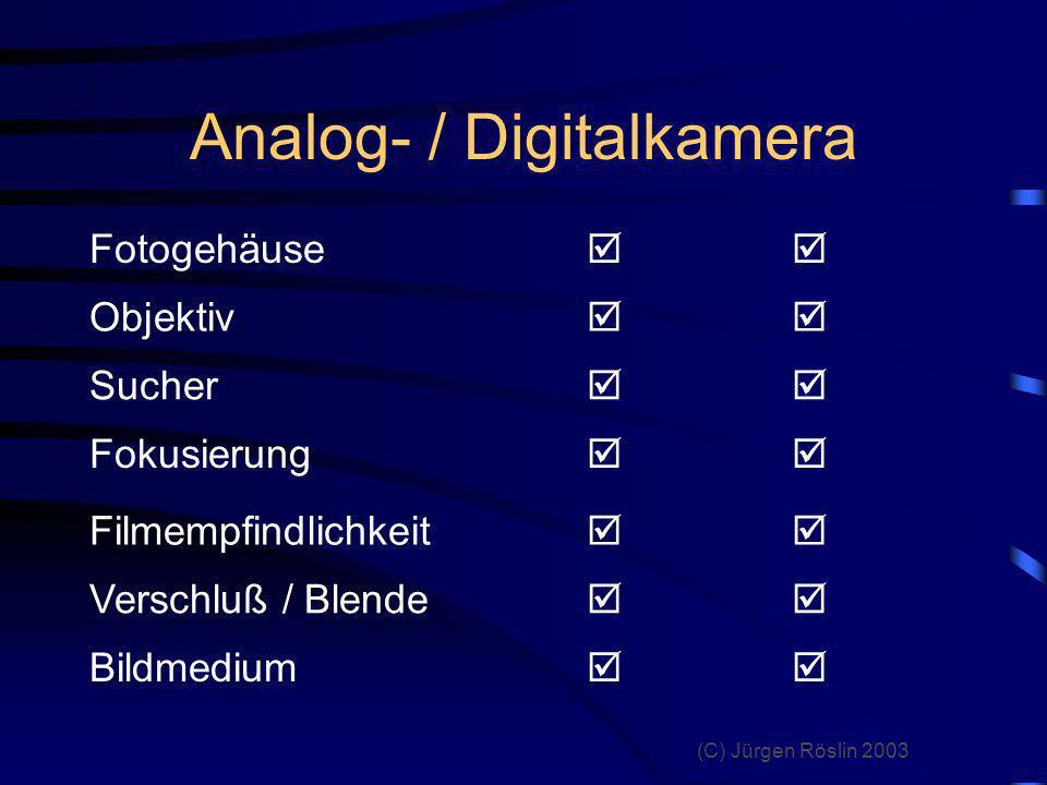 (C) Jürgen Röslin 2003 Unterschied Film / Bildsensor Filmmaterial in jeder Farbschicht befinden sich lichtempfindliche Silberkristalle Bildsensor hinter den Farbschichten befinden sich lichtempfindliche Elemente