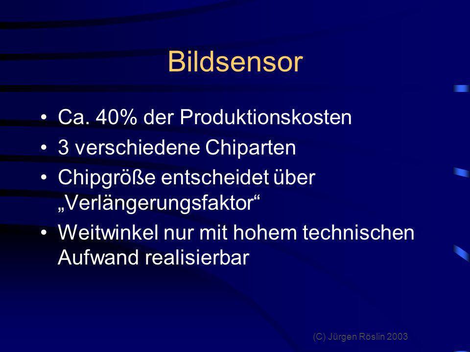 (C) Jürgen Röslin 2003 Vor- und Nachteile Bildkontrolle keine Verluste bei Digitalisierung keine Chemie Bildarchivierung Anzahl der Bilder keine Folgekosten Nachbearbeitung Sonderfunktionen hoher Preis Rechner erforderlich Abzüge teuer kritische Belichtung Auslöseverzögerung