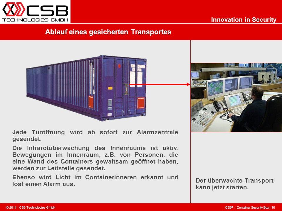 CSB ® - Container Security Box | 10 © 2011 - CSB Technologies GmbH Innovation in Security Ablauf eines gesicherten Transportes Der überwachte Transpor