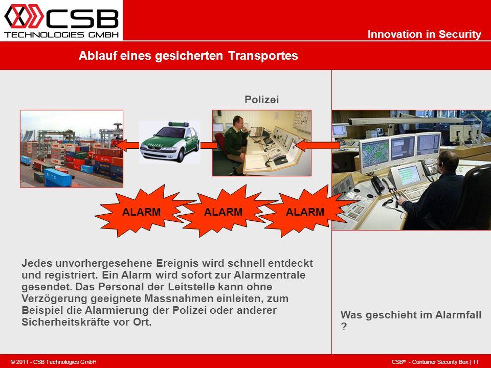 CSB ® - Container Security Box | 11 © 2011 - CSB Technologies GmbH Innovation in Security Ablauf eines gesicherten Transportes Was geschieht im Alarmf