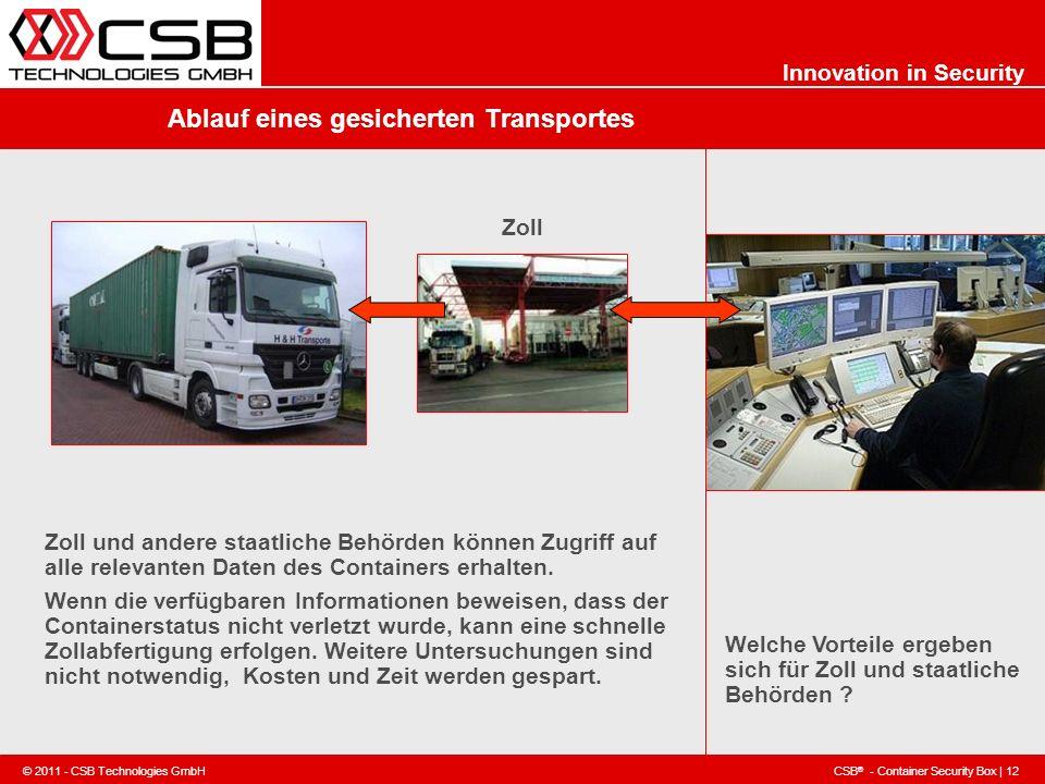 CSB ® - Container Security Box | 12 © 2011 - CSB Technologies GmbH Innovation in Security Ablauf eines gesicherten Transportes Welche Vorteile ergeben