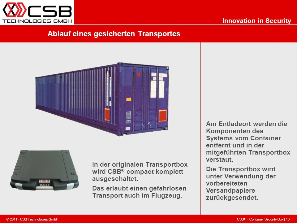 CSB ® - Container Security Box | 13 © 2011 - CSB Technologies GmbH Innovation in Security Ablauf eines gesicherten Transportes Am Entladeort werden di