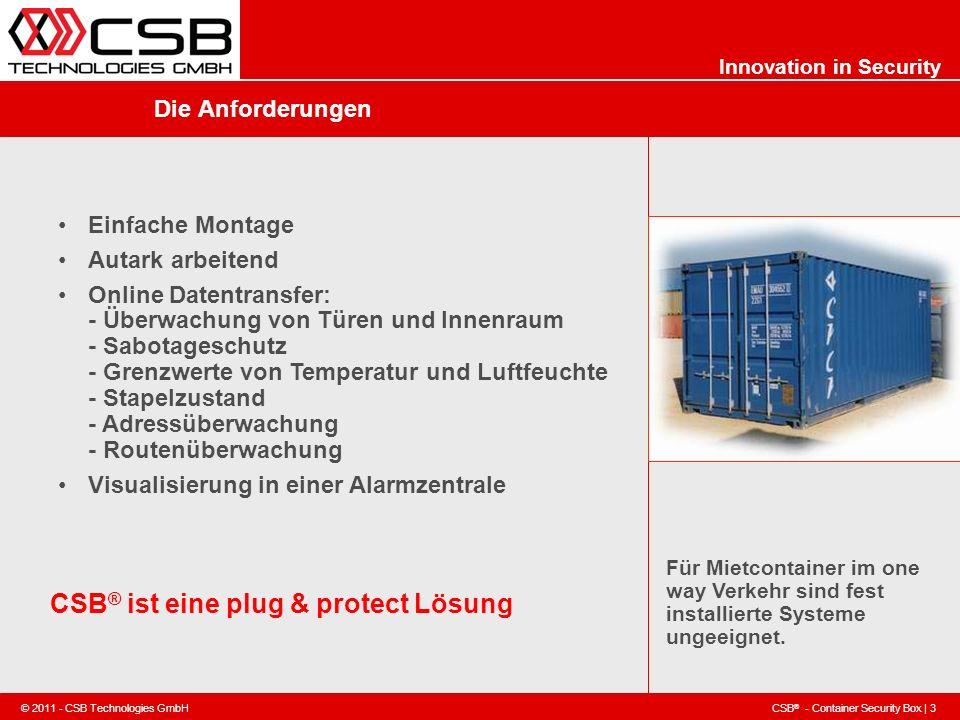 CSB ® - Container Security Box | 3 © 2011 - CSB Technologies GmbH Innovation in Security Die Anforderungen Einfache Montage Autark arbeitend Online Da