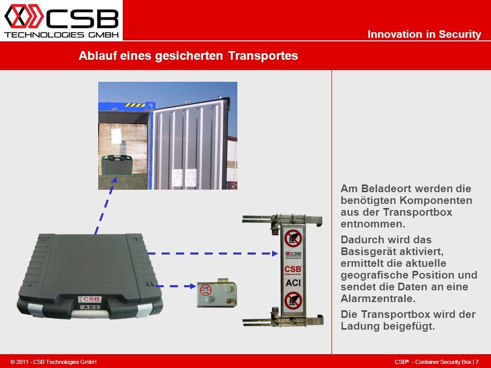 CSB ® - Container Security Box | 7 © 2011 - CSB Technologies GmbH Innovation in Security Ablauf eines gesicherten Transportes Am Beladeort werden die