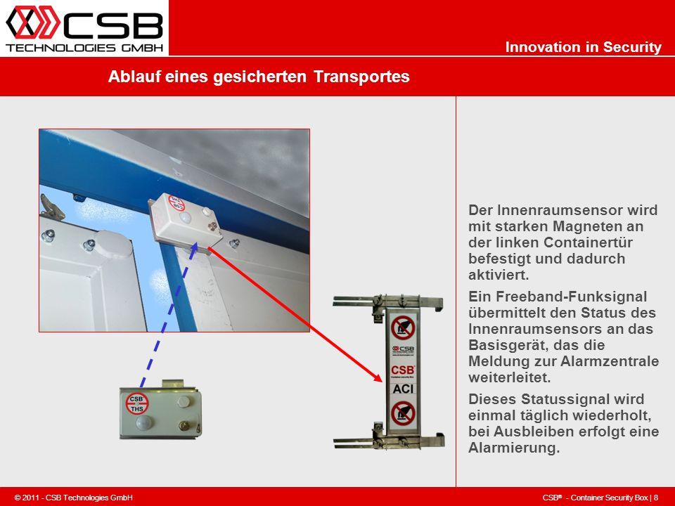 CSB ® - Container Security Box | 8 © 2011 - CSB Technologies GmbH Innovation in Security Ablauf eines gesicherten Transportes Der Innenraumsensor wird