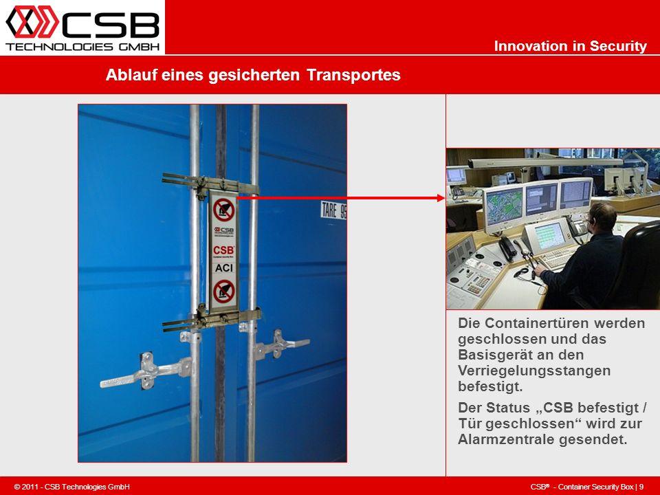 CSB ® - Container Security Box | 9 © 2011 - CSB Technologies GmbH Innovation in Security Ablauf eines gesicherten Transportes Die Containertüren werde