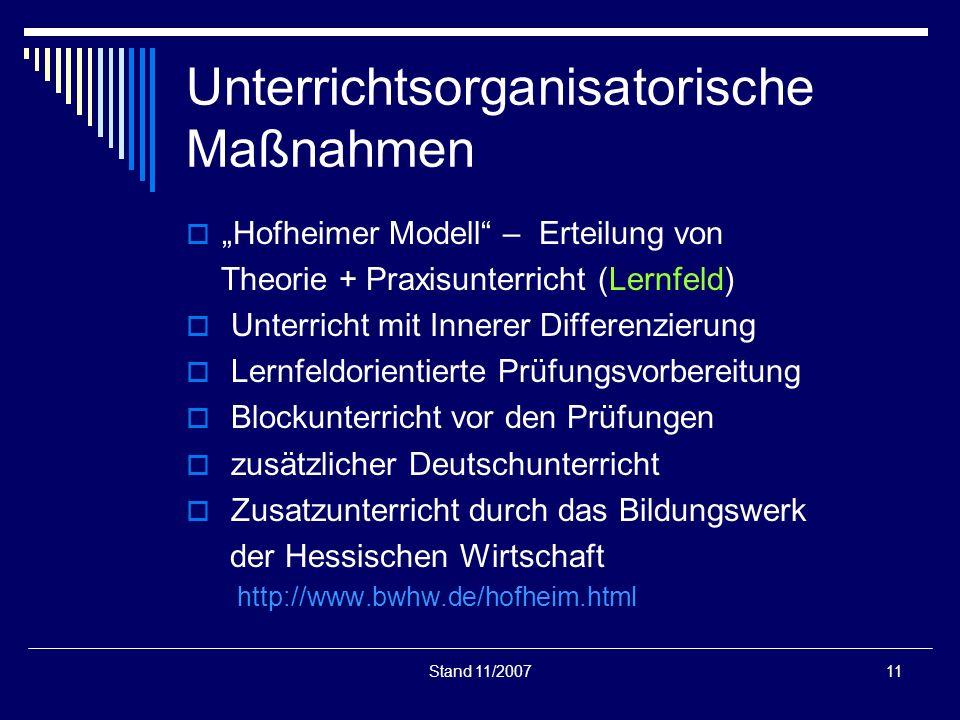 Stand 11/200711 Unterrichtsorganisatorische Maßnahmen Hofheimer Modell – Erteilung von Theorie + Praxisunterricht (Lernfeld) Unterricht mit Innerer Di