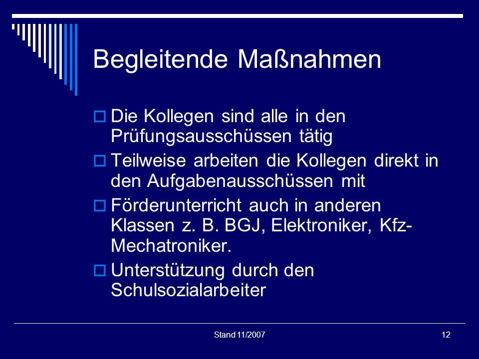 Stand 11/200712 Begleitende Maßnahmen Die Kollegen sind alle in den Prüfungsausschüssen tätig Teilweise arbeiten die Kollegen direkt in den Aufgabenau