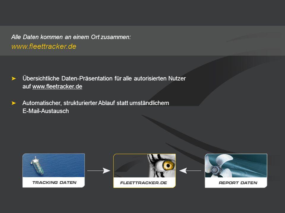 Alle Daten kommen an einem Ort zusammen: www.fleettracker.de Übersichtliche Daten-Präsentation für alle autorisierten Nutzer auf www.fleetracker.de Au