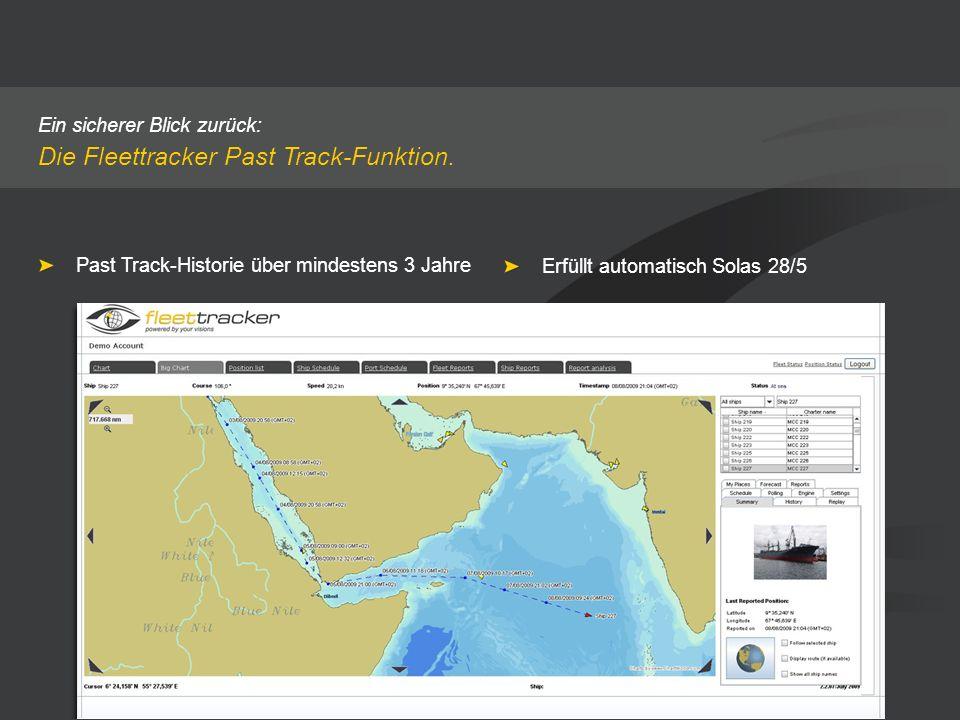 Ein sicherer Blick zurück: Die Fleettracker Past Track-Funktion. Past Track-Historie über mindestens 3 Jahre Erfüllt automatisch Solas 28/5