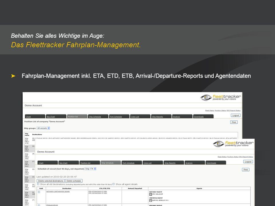 Behalten Sie alles Wichtige im Auge: Das Fleettracker Fahrplan-Management. Fahrplan-Management inkl. ETA, ETD, ETB, Arrival-/Departure-Reports und Age
