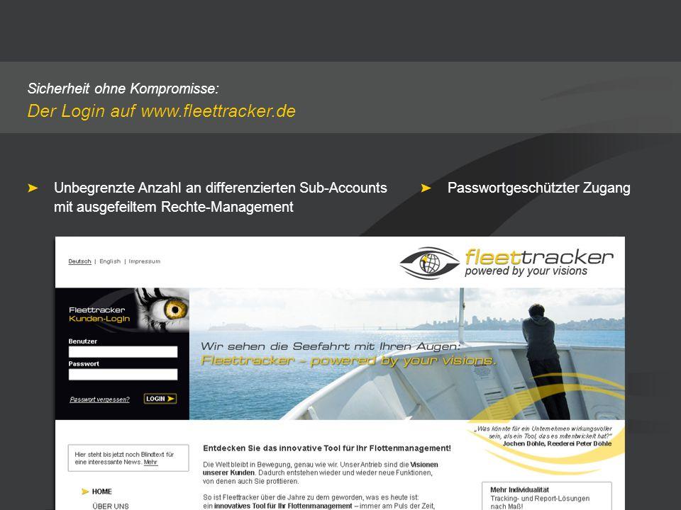 Sicherheit ohne Kompromisse: Der Login auf www.fleettracker.de Unbegrenzte Anzahl an differenzierten Sub-Accounts mit ausgefeiltem Rechte-Management P