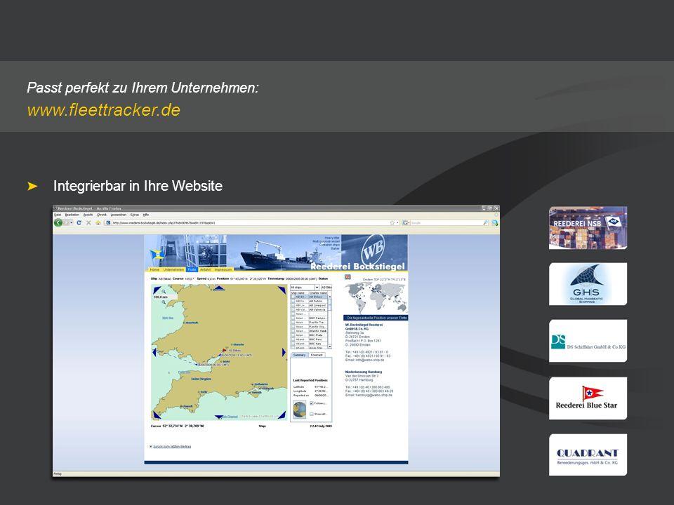 Passt perfekt zu Ihrem Unternehmen: www.fleettracker.de Integrierbar in Ihre Website