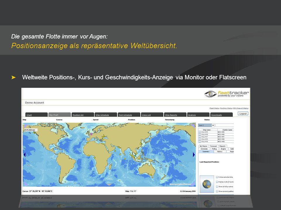 Die gesamte Flotte immer vor Augen: Positionsanzeige als repräsentative Weltübersicht. Weltweite Positions-, Kurs- und Geschwindigkeits-Anzeige via Mo
