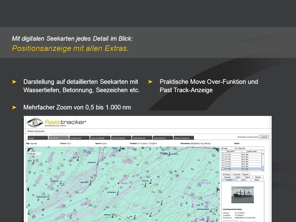 Mit digitalen Seekarten jedes Detail im Blick: Positionsanzeige mit allen Extras. Praktische Move Over-Funktion und Past Track-Anzeige Darstellung auf