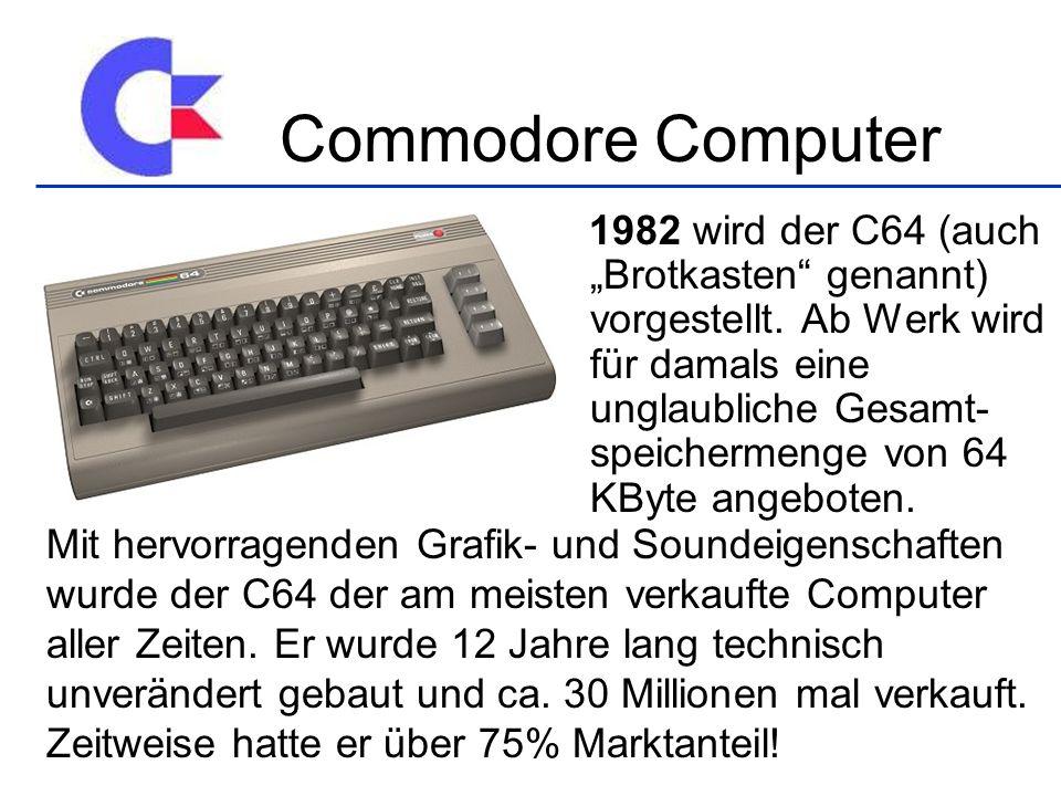 1982 wird der C64 (auch Brotkasten genannt) vorgestellt. Ab Werk wird für damals eine unglaubliche Gesamt- speichermenge von 64 KByte angeboten. Mit h
