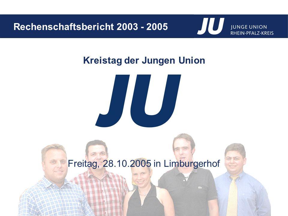 Rechenschaftsbericht 2003 - 2005 Liebe JUler, der aktuelle Kreisvorstand wurde am legendären Kreistag am 15.08.2003 in Mutterstadt gewählt.