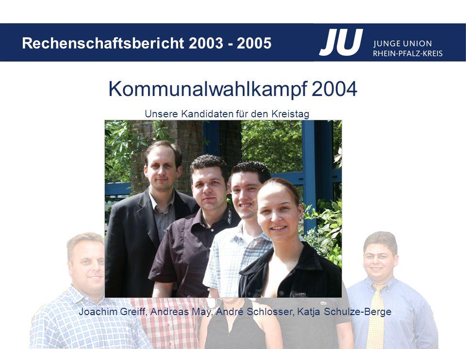 Rechenschaftsbericht 2003 - 2005 Kommunalwahlkampf 2004 Unsere Kandidaten für den Kreistag Joachim Greiff, Andreas May, André Schlosser, Katja Schulze-Berge