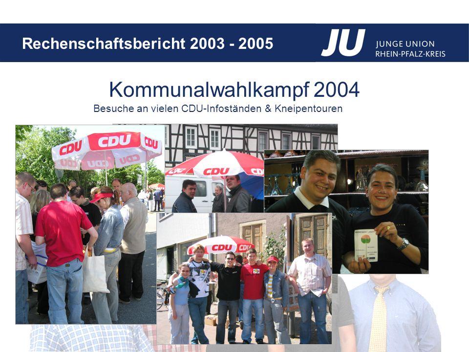 Rechenschaftsbericht 2003 - 2005 Besuche an vielen CDU-Infoständen & Kneipentouren Kommunalwahlkampf 2004