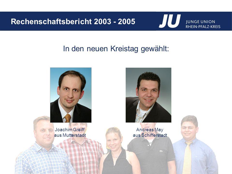 Rechenschaftsbericht 2003 - 2005 In den neuen Kreistag gewählt: Joachim Greiff aus Mutterstadt Andreas May aus Schifferstadt